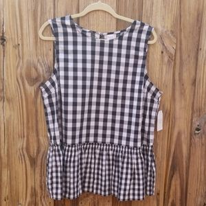 Peplum Checkered Top
